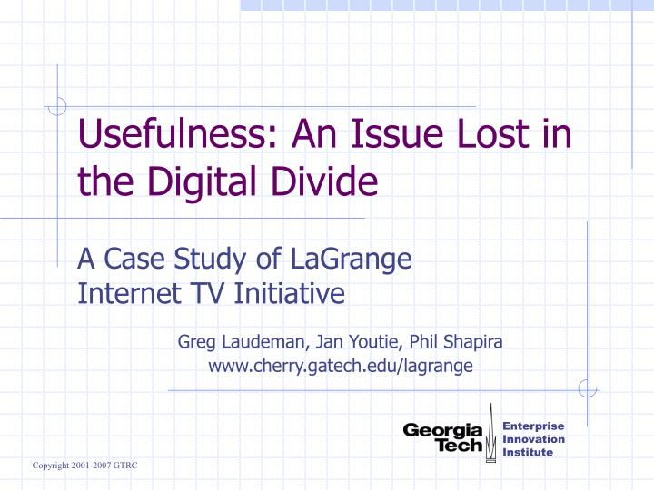 usefulness an issue lost in the digital divide n.