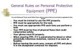 general rules on personal protective equipment ppe