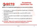 occupational qualification title