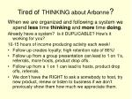 tired of thinking about arbonne