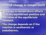 effect of change in temperature