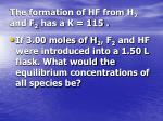 the formation of hf from h 2 and f 2 has a k 115