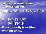 write the equilibrium expressions for