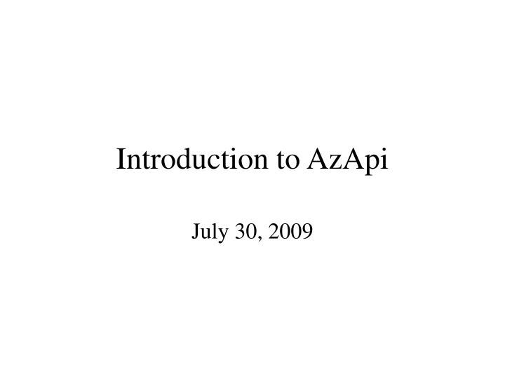 introduction to azapi n.
