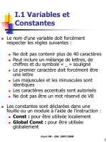 i 1 variables et constantes