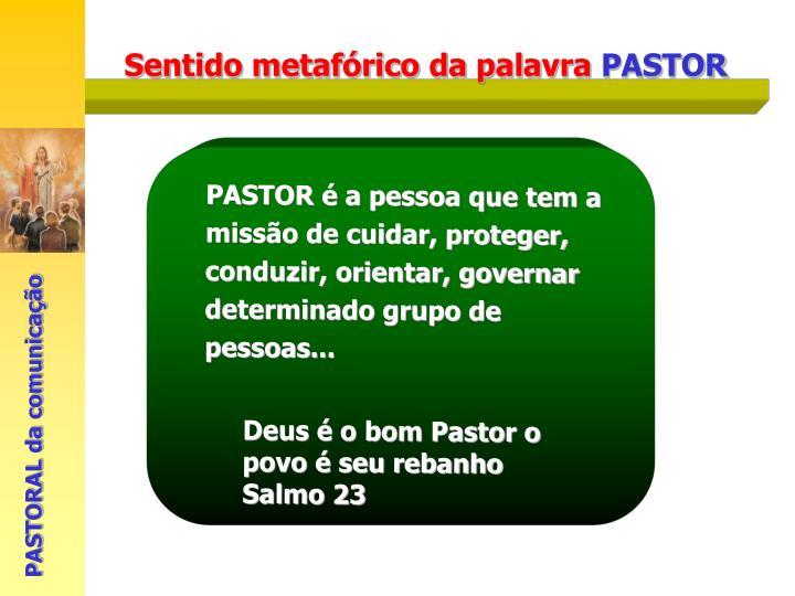 PASTOR é a pessoa que tem a missão de cuidar, proteger, conduzir, orientar, governar determinado grupo de pessoas...