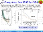 energy loss from rhic to lhc i