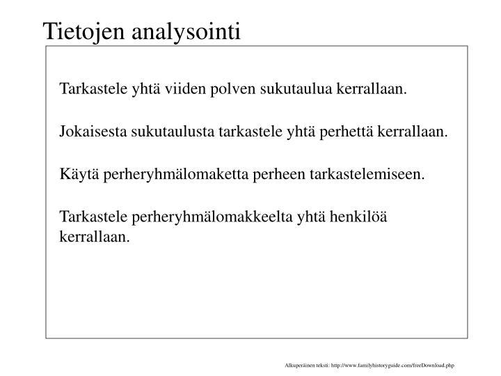 Tietojen analysointi