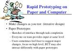 rapid prototyping on paper and computer