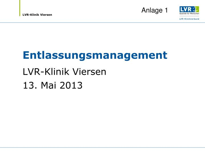 entlassungsmanagement n.