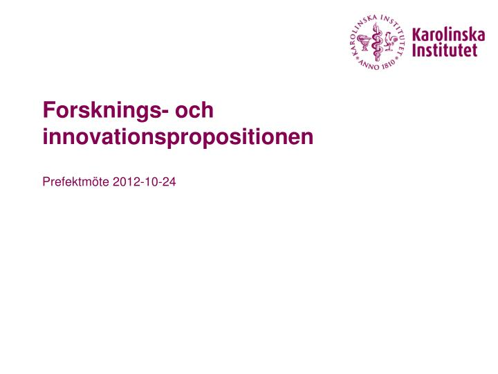 forsknings och innovationspropositionen n.