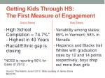 getting kids through hs the first measure of engagement