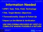 information needed