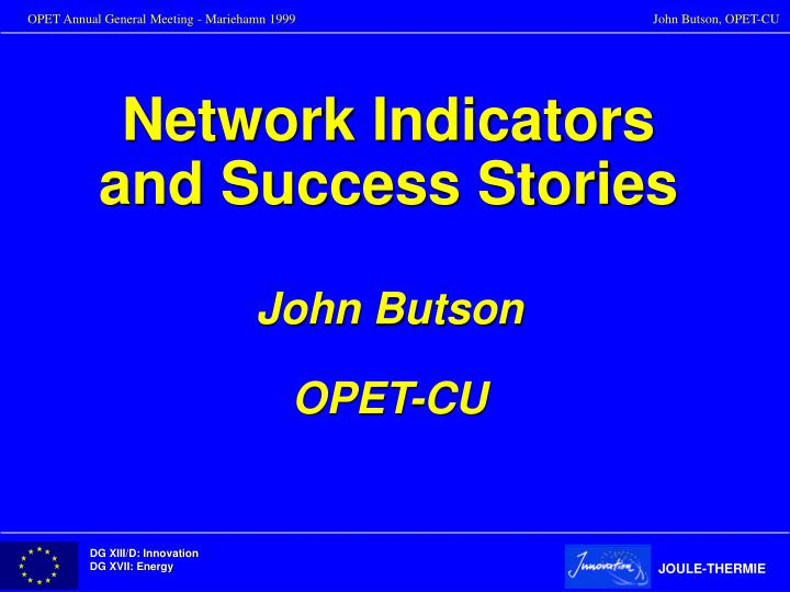 network indicators and success stories n.
