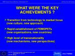 what were the key achievements