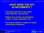 what were the key achievements1
