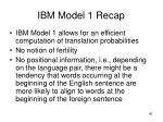 ibm model 1 recap