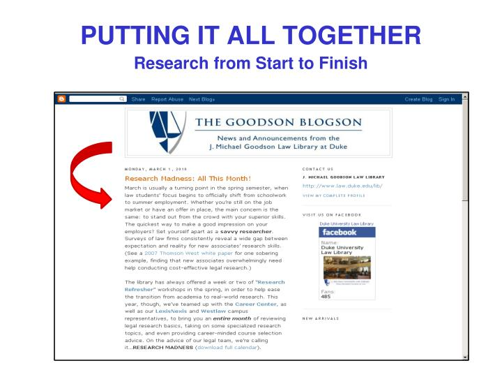 putting it all together research from start to finish n.