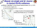 beauty via single and di muons in central pb pb collisions