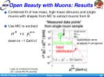 open beauty with muons results