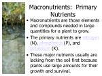 macronutrients primary nutrients