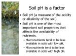 soil ph is a factor