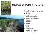 sources of parent material