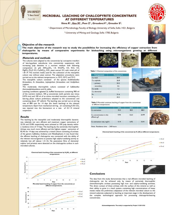 microbial leaching of chalcopyrite concentrate at different temperatures n.