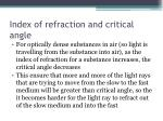index of refraction and critical angle