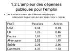 1 2 l ampleur des d penses publiques pour l emploi