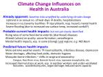 climate change influences on health in australia