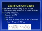equilibrium with gases