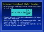 henderson hasselbalch buffer equation