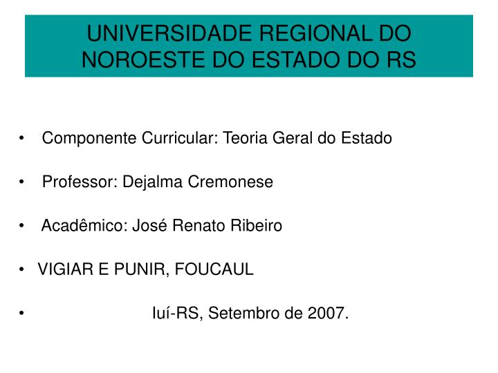 universidade regional do noroeste do estado do rs n.
