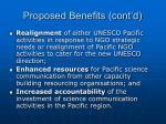 proposed benefits cont d