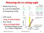 measuring the ew mixing angle
