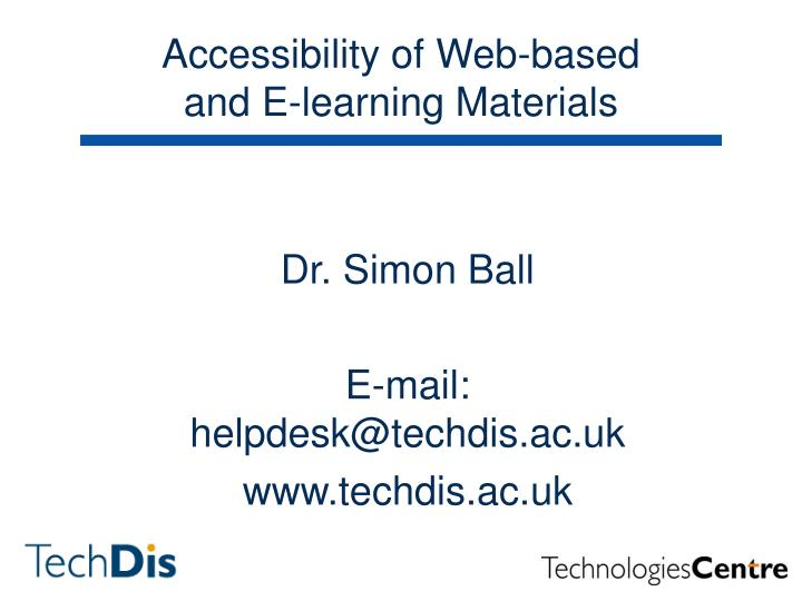 accessibility of web based and e learning materials n.