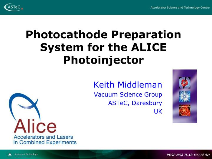 photocathode preparation system for the alice photoinjector n.