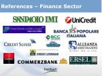 references finance sector