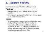5 search facility