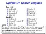 update on search engines