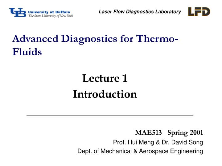 advanced diagnostics for thermo fluids n.