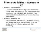 priority activities access to at