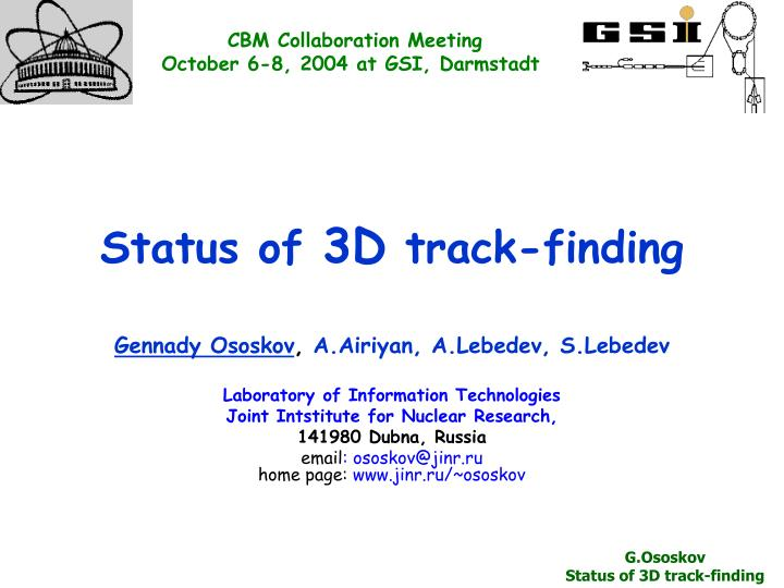 status of 3d track finding n.