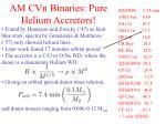 am cvn binaries pure helium accretors