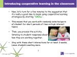 introducing cooperative learning in the classroom