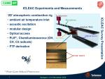 icleac experiments and measurements