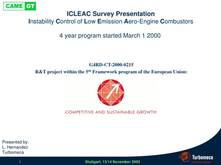 icleac survey presentation i nstability c ontrol of l ow e mission a ero engine c ombustors n.