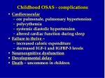 childhood osas complications