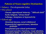 patterns of neuro cognitive dysfunction